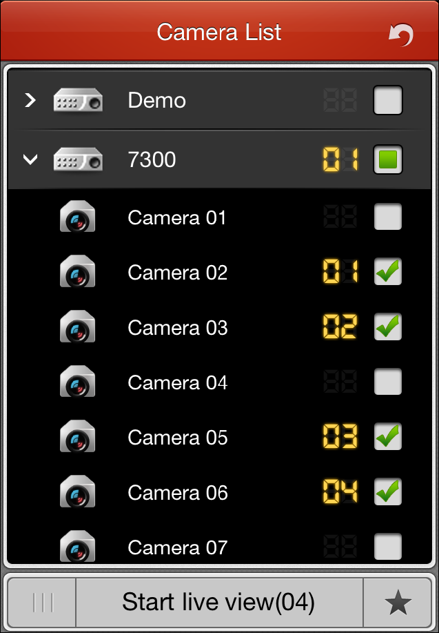 3. Click to start live view of the selected camera(s).