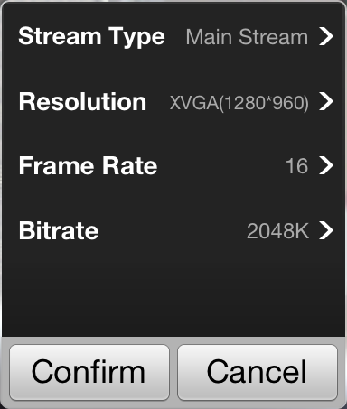 Click to activate the customized panel shown below. 2. Configure the parameters according to actual needs, including Stream Type, Resolution, Frame Rate and Bitrate. 3. Click to save the settings.