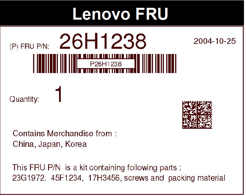 Package Label for a non-serialized FRU containing a single item A.