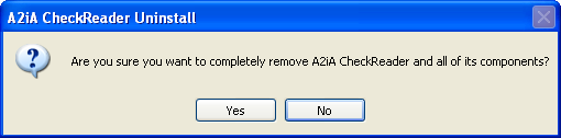 Remove A2iA Check Reader software The next process is to uninstall the Check Reader software from the Windows Control Panel. 1.