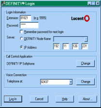Using DEFINITY IP Softphones Logging On The following will apply to all user types. Look for the DEFINITY Login icon on DEFINITY Login.lnk your desktop and click on it.