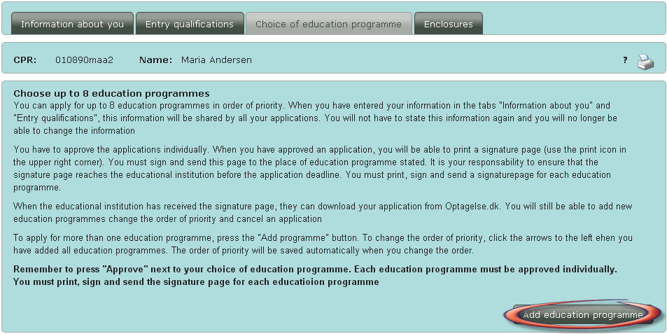 Add your choices of education programmes.