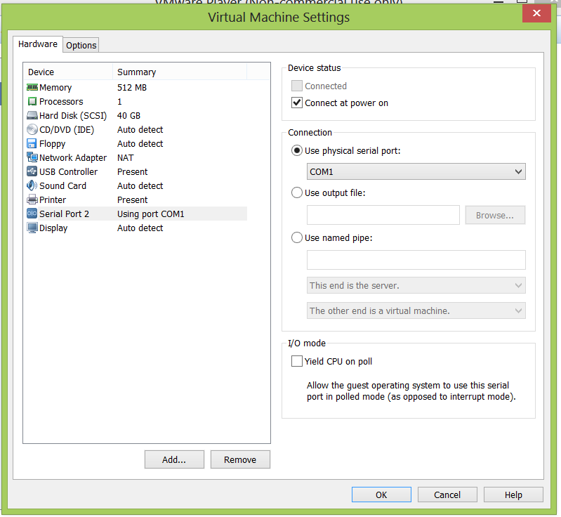 In this case COM2 of the virtual machine use the physical COM1 on the host system.