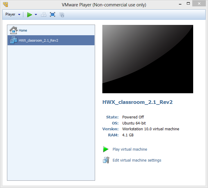 Step 5: Change the VM Name 5.1. Right-click on HWX_classroom_Storm_RevN in the list of VMs and select Settings. 5.2. Select the Options tab. 5.3. Change the Virtual machine name to HWX_Storm. 5.4.