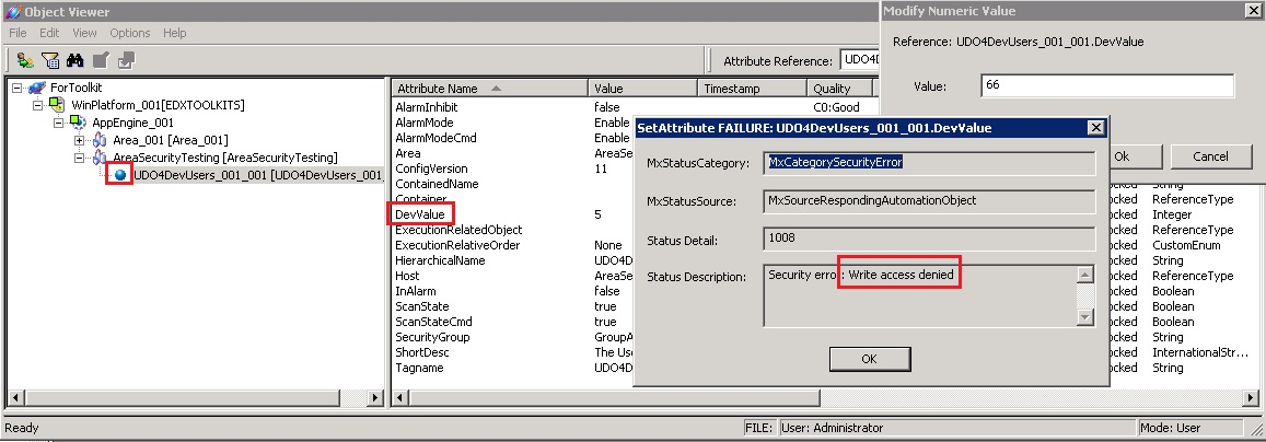 FIGURE 2: WARNING MESSAGE IN THE SMC LOGGER FIGURE 3: WARNING ICON IN THE OBJECT VIEWER Case 2: Access-Denied Error When Setting a UDA Value from the Object Viewer FIGURE 4: WRITE ACCESS DENIED