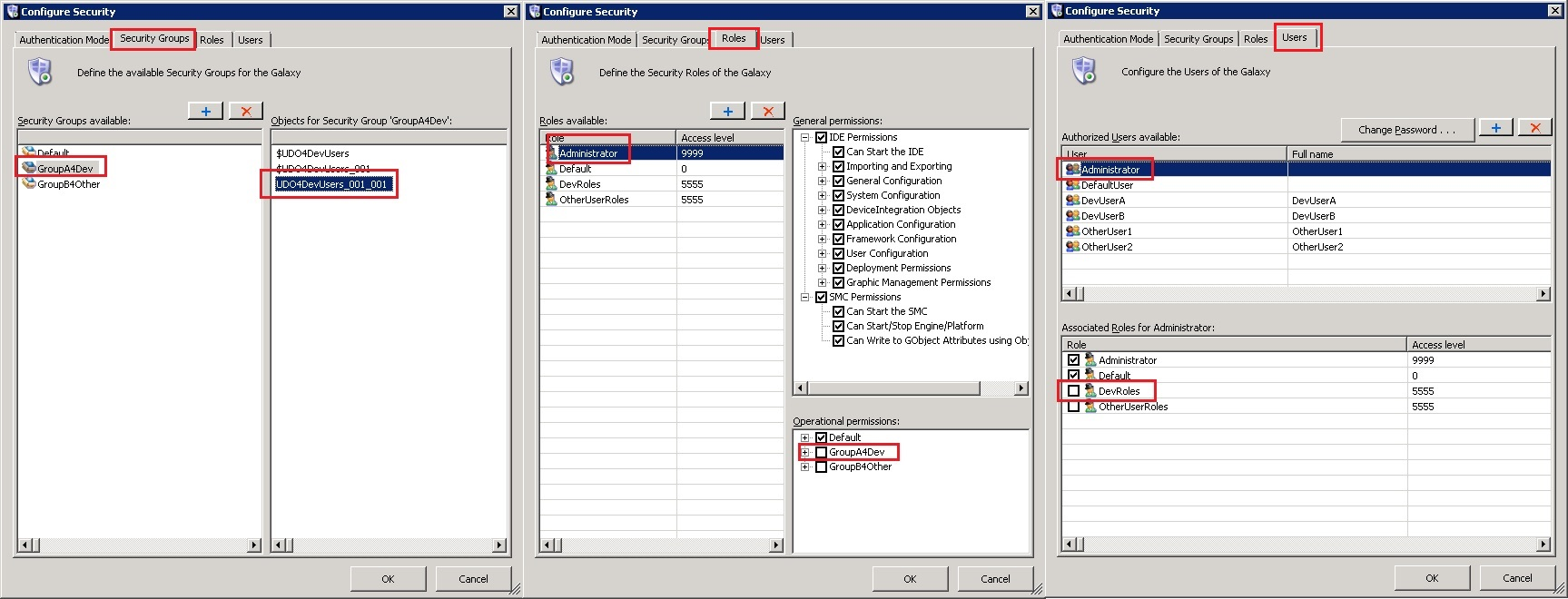 Check which Security Group UDO4DevUsers_001_001 belongs to. Figure 5 (below) shows the Configure Security window with the respective tabs' checkpoints.