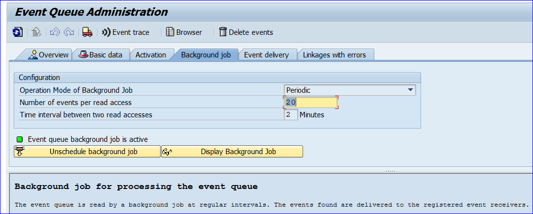 Event Queue Transaction SWEQADM is used to schedule the event queue in every system.