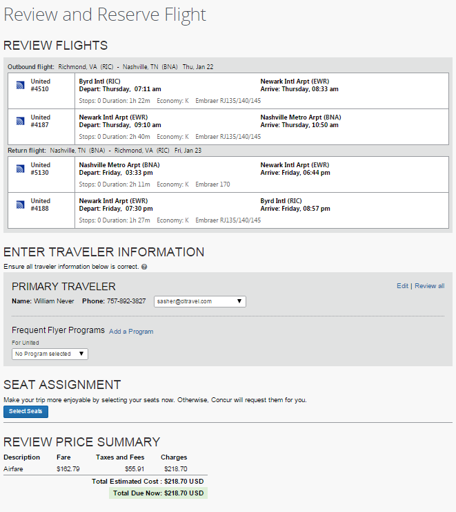 11) Review and Reserve Flight a) Review Flights: Displays selected flight information. b) Enter Traveler Information: Displays basic information for the reservation s primary traveler.