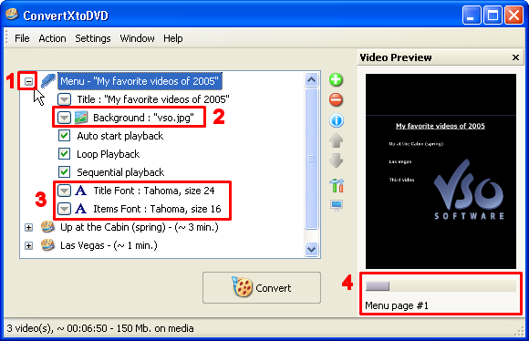 To reorder the files in the DVD Menu, click once on any file and use the blue arrow icons on the right to move the file either up or down among the list (2).