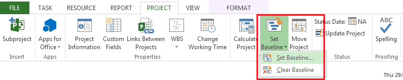 Baselines Microsoft Project 2013 A baseline is the set of original start and finish dates, durations, work, and cost estimates that you save after you've completed and fine-tuned your project plan