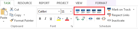 Tracking Tasks 1. On the Gantt chart, click on a task then click the Task tab and within he Schedule group click the percentage complete you want to show. 2.