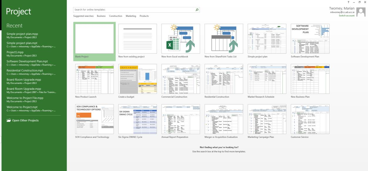 Getting Started When you open Microsoft Project initially you can create a new project from Blank Project or work using one of the many built in templates.