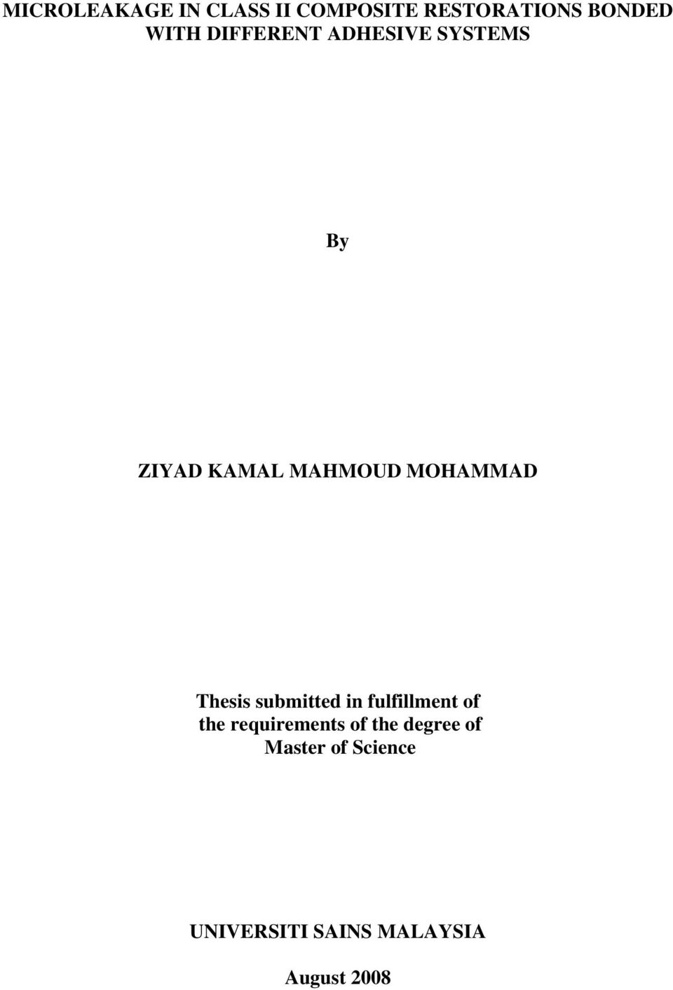 Thesis submitted in fulfillment of the requirements of the