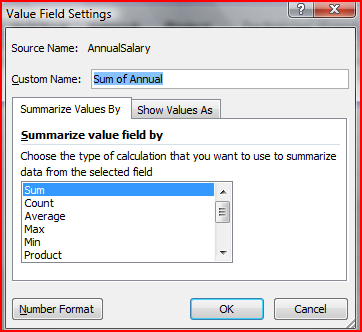 Change the Position of a Field 1. Drag the field label to its new position within the Pivot Table Format the Value Field 1. Double-click on the Value Field label.