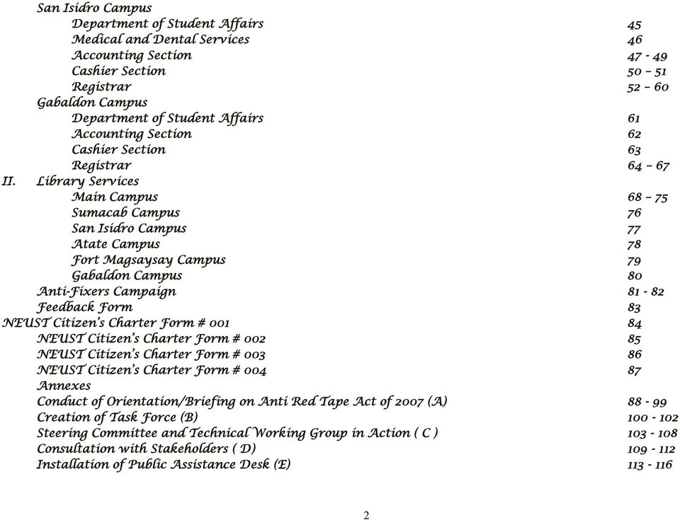 Nueva ecija university of science and technology citizen s charter library services main campus 68 75 sumacab campus 76 san isidro campus 77 atate campus 78 yelopaper Gallery
