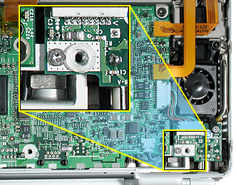 Replacement Notes: Install or transfer the 1 mm plastic spacer washer to the replacement DC-In board.