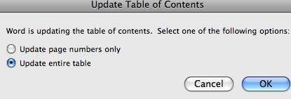 Select Update entire table and click OK. Delete a table of contents 1. Click the table of contents. 2.
