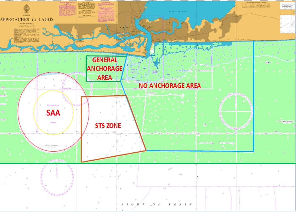 Chart 2a: MEZ, SAA, STS, West Africa Safe Anchorage Area (SAA) Maritime Exclusion Zone (MEZ)