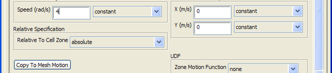 Cell Zone Conditions (2) Select fluid-rotating-core and click Edit Observe air is already selected Click Frame Motion, to activate the Moving Reference Frame model Retain the (0 0) as Rotational-Axis