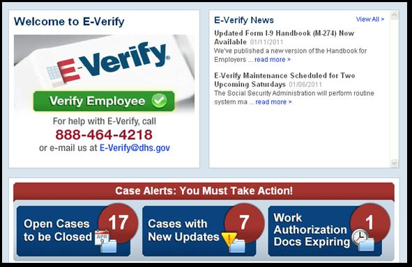 CASE ALERTS PROCESS OVERVIEW E-Verify user home page display with no case alerts.