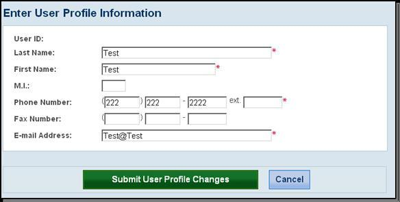 A confirmation message and your profile information will display.
