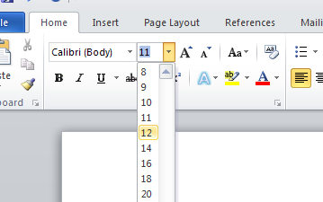 1) On the Home ribbon, in the Font box, click on the font drop-down menu (the small arrow next to the word Calibri ) to show available fonts.