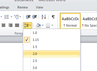 3) Word 2010 automatically sets the margins of a new or blank document to 1 inch on all sides. To check the margins, click on the tab that is labeled Page Layout to open the Page Layout ribbon.