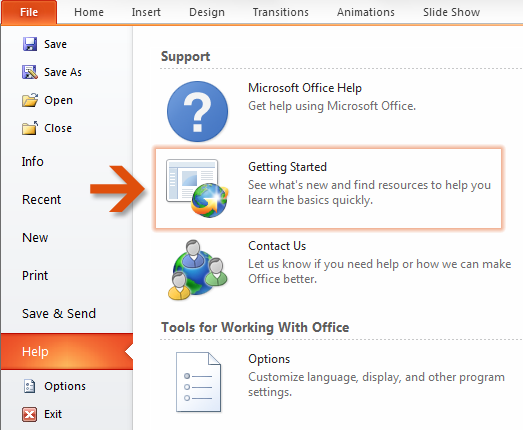 How to get started with PowerPoint 2010 If you ve been using Microsoft PowerPoint 2003 for a long time, you ll no doubt have questions about where to find PowerPoint 2003 commands and toolbar buttons
