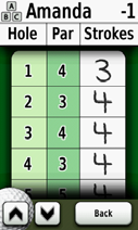4. Touch Player or the player s name for an individual scorecard overview. Player s name 5. Touch Player or the player s name to edit the name using the on-screen keyboard. 6.