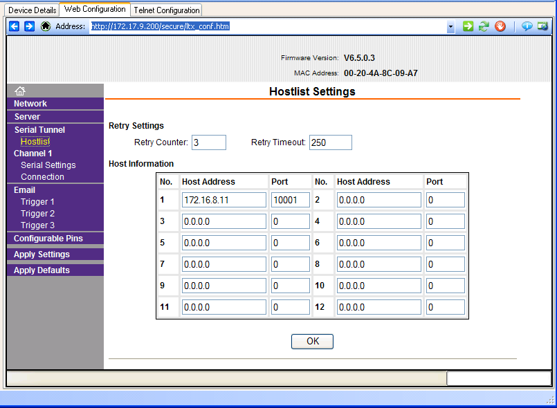 Figure 16 Shows the Hostlist Settings window.