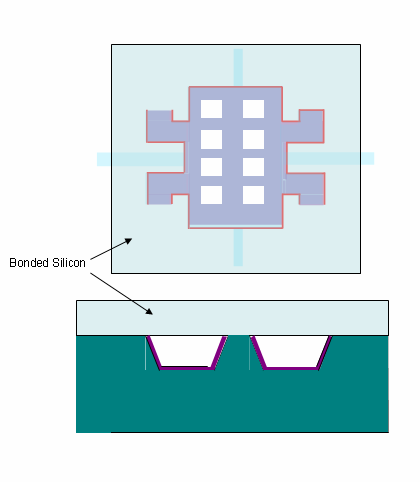 Figure 1.2.3 - Anodically bond a silicon wafer to the front side of the prepared glass wafer.