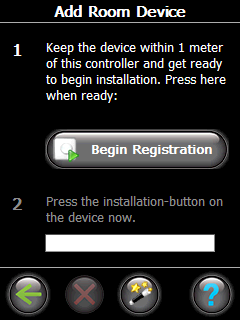 3. Installation - step by step 3. Press Begin Registration, and then press and release on the thermostat. 4. Repeat for each device. 5.