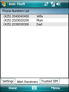 The Trusted SIM tab shows the list of trusted SIM cards. Each entry consists of the SIM Alias (left column) and IMSI number (right column).