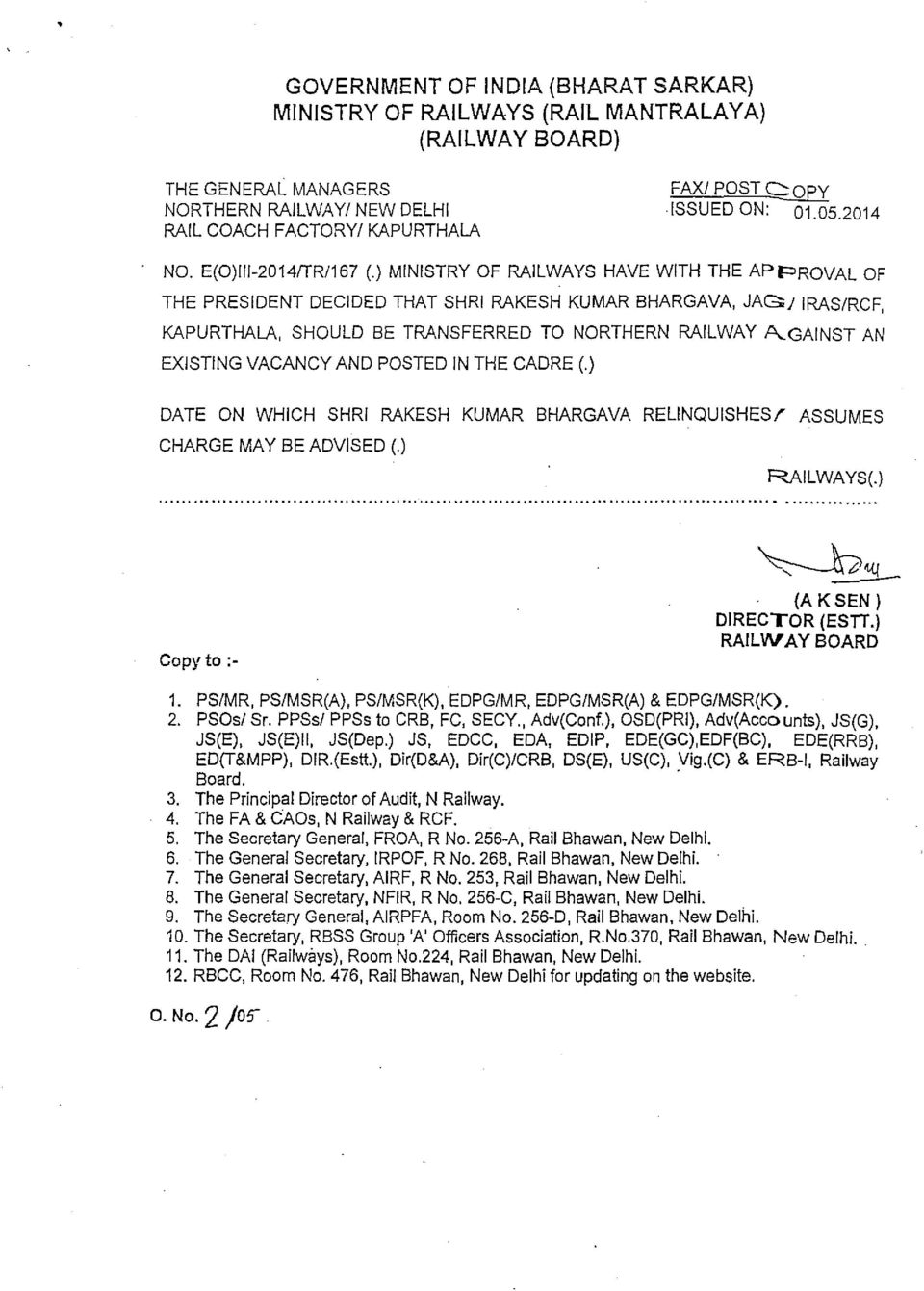 VACANCY AND POSTED IN THE CADRE (.) DATE ON WHICH SHRI RAKESH KUMAR BHARGAVA RELINQUISHES/ ASSUMES CHARGE MAY BE ADVISED (.) RAILWAYS(.) Copy to :- 2. PSOs/ Sr. PPSs/ PPSs to CRB, FC, SECY., Adv(Conf.