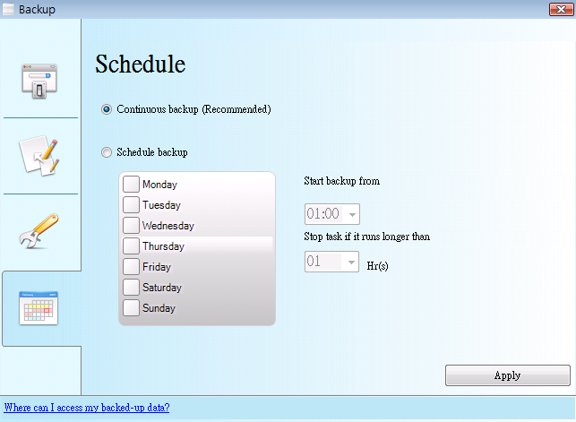V - Schedule There are two options to set the backup schedule, which are Continuous Backup and Schedule Backup. Below we will walk you through the difference between these two options.