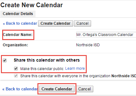Adding a Calendar Calendars can be useful tools to share on a Google Sites. Do not share your personal calendar on Google Sites. It is best to create a calendar specific for this task.