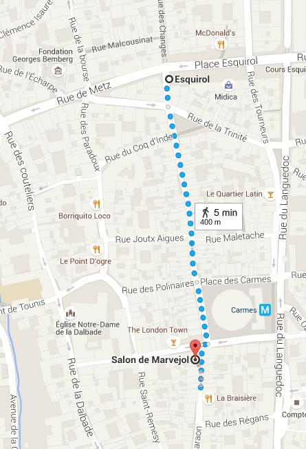 By Bus and metro Salon de Marvejol is located close to two metro stations: - Esquirol, metro LINE A - Carmes, metro LINE B By train The Toulouse-Matabiau railway station is located in the city center