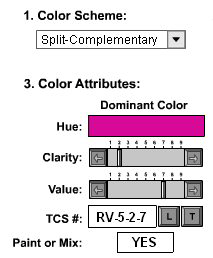 T (Table): If the answer is NO you can click on the T tab which will automatically take you to the Color Table for that color family and hue.