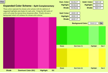 EXPANDED COLOR SCHEME After choosing a color scheme from the Digital Color Wheel, this feature displays the dominant color, with suggested shade and highlight beside the dominant color.