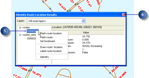 3. Move the pointer over one of the calibration points and click. Route locations from both the routes and routes_new layers are identified. 4. Click the route node for each of the route layers.