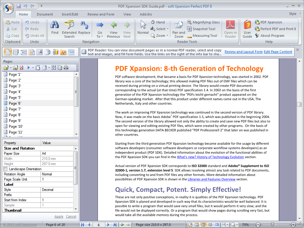 The program includes several tools and Add-Ins that make it easier to work with PDF files and with the PDF content.