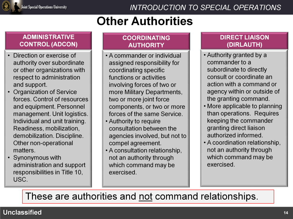 Other authorities in Joint Doctrine include Administrative Control (ADCON), coordinating authority and Direct Liaison (DIRLAUTH).