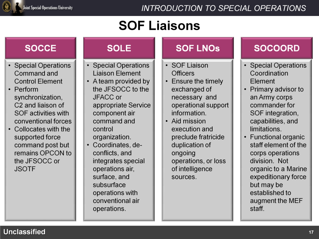 When employing Joint Special Operations Forces, a Theater Special Operations Command will make extensive use of liaisons and liaison elements to support planning and execution and also to de-conflict