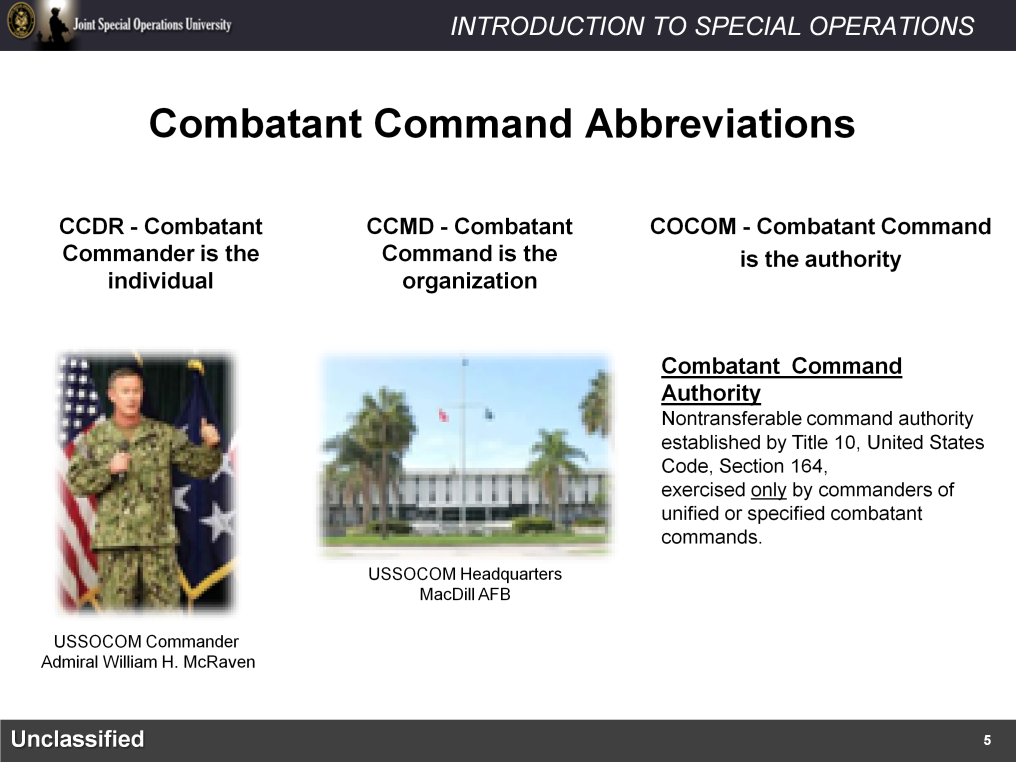 There are different doctrinal abbreviations used for the term Combatant Command.