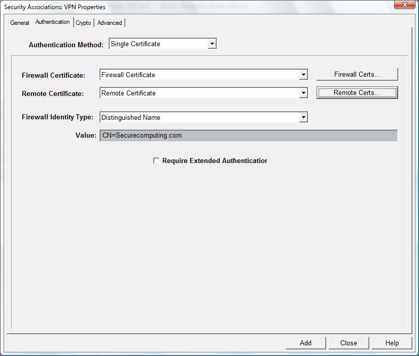 7 For certificates select Single Certificate as the Authentication Method. The following window appears.