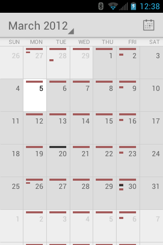 Month View In Month view, you ll see markers on days that have events. When in Month view: Touch a day to view the events of that day. Slide up or down the screen to view earlier or later months.