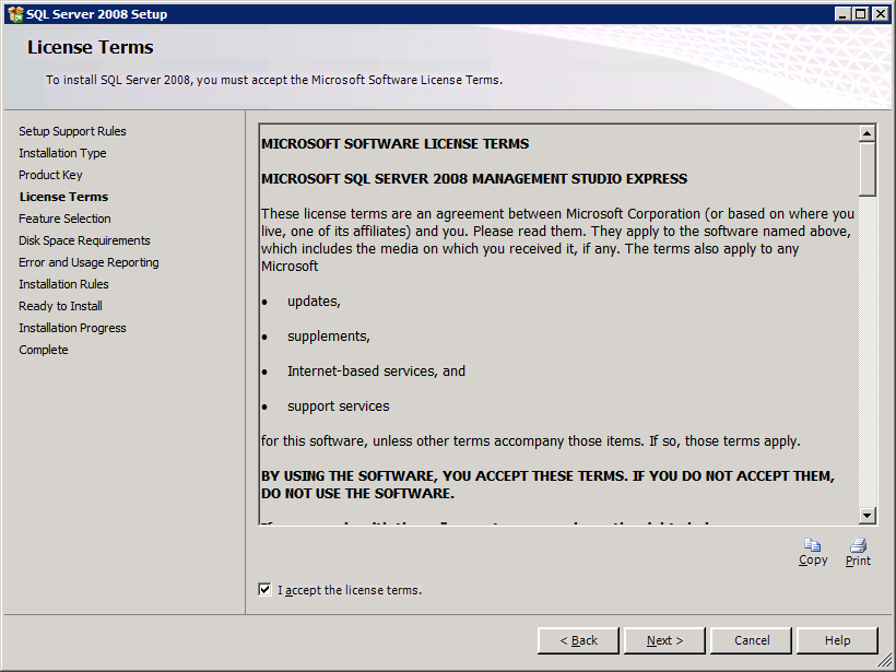 8. Select Perform a new installation of SQL Server 2008. 9. Select Next. 10.