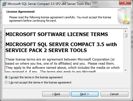 Installation of SQL Server Compact 3.5 SP2 Server Tools *NOTE* Your Handheld MUST be cradled and synchronized through Windows Mobile Device Center in order to install this software.