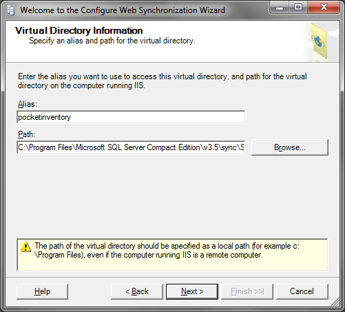 7. Select SQL Server Compact. 8. Select Next. 9. Enter the name of the computer running IIS. 10. Select Create a new virtual directory. 11.