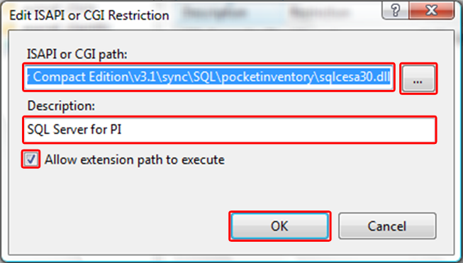 12. Under Actions, select Add... 13. Under ISAPI or CGI Path enter: C:\Program Files\Microsoft SQL Server Compact Edition\v3.1\sync\SQL\pocketinventory\sqlcesa30.dll 14.
